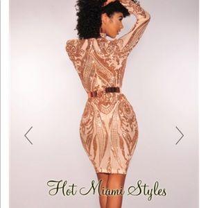 5adb19c8a48 Hot Miami Styles Dresses - Rose Gold Sequins V Neck Mesh Long Sleeves Dress